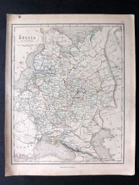Chambers 1846 Antique Map. Russia in Europe